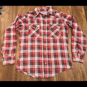 Vintage Dakota  Flannel Button Up Pearl Snap Red